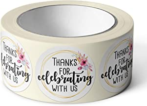 """Pebble Penguin Thanks For Celebrating With Us Stickers 1.5"""" (500) Floral Stickers for Craft Projects Weddings Events Birth..."""