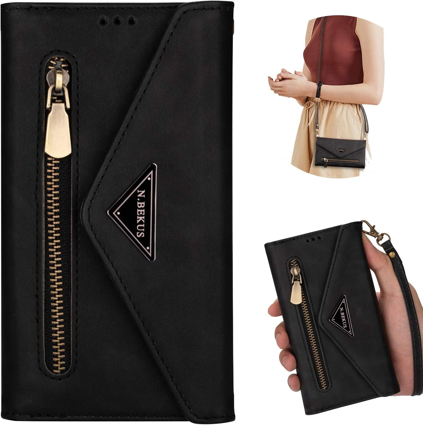 Samsung Galaxy S20 FE 5G Wallet Case,ZYZX Crossbody Neck Strap Lanyard Purse Handbag Shoulder Strap Cover PU Leather Credit ID Card Holder Kickstand Stand Case for Galaxy S20 FE 5G XK Black
