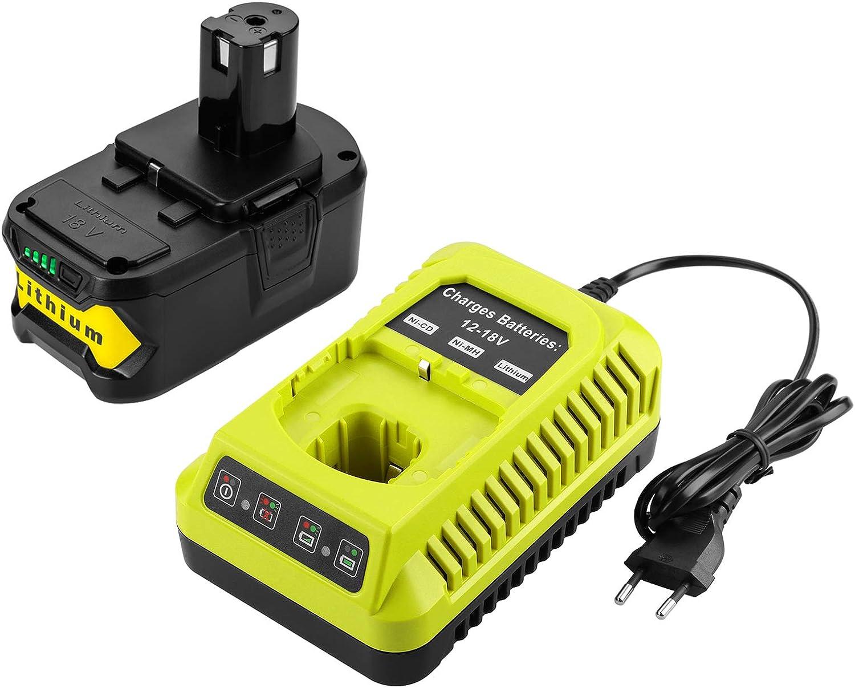 XNJTG 5000mAh 18V batería de repuesto de iones de litio y cargador para herramientas Ryobi 18V one + P108 P107 P104 P105 P102 P103