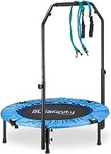 Bluefinity Trampoline met stang, mini-trampoline opvouwbaar, expander & tas, klein, h x b x d: 121 x 102 x 102 cm, blauw/z...