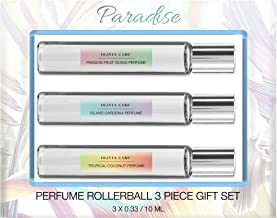 OLIVIA CARE Paradise Perfume, 3 Piece Set (10mL) - all Natural Women's Perfume, Sweet Tropical fragrances of Tropical Coconut, Island Gardenia, Passion Fruit Guava!