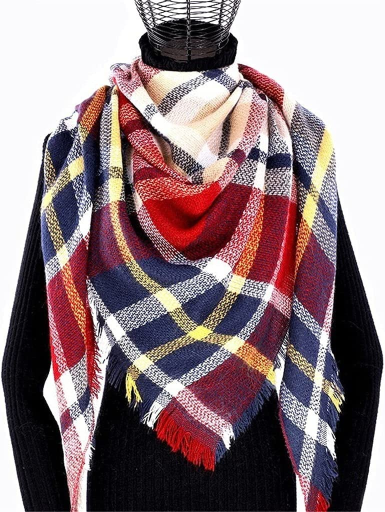 CDQYA Winter Cashmere 70% OFF Outlet Plaid Scarf Poncho Triangle Shawl Ba Woman Minneapolis Mall