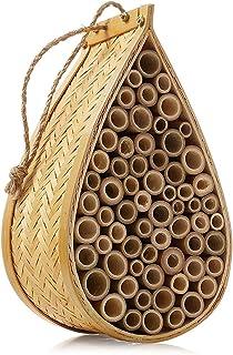 HNDTM Mason Bee House Natural Bamboo Mason Bee Hive Supercharge Your Garden Orchard Non-Aggressive Pollinator Bees Bee Hotel