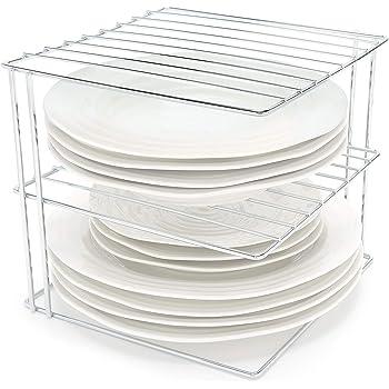 Estante para platos de color blanco soporte platos para almacenamiento en armarios de cocina Organizador platos estante cocina de 25x25x19cm