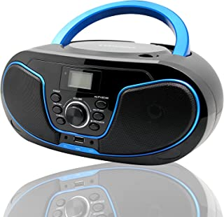 LONPOO Stereo CD Boombox Portable Bluetooth Digital Tuner FM Radio CD Player with USB Playback,Bluetooth-in,AUX Input and ...