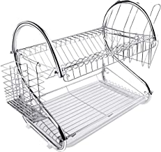 TREE.NB Dish Drying Rack Kitchen-2-Tier Cutlery Metal Draining Dish Drying Rack, with Drain Board
