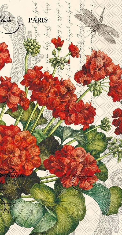 Disposable Hand Towels, Decorative Paper Guest Towels for Bathroom, Floral Napkins Geraniums Pak 32