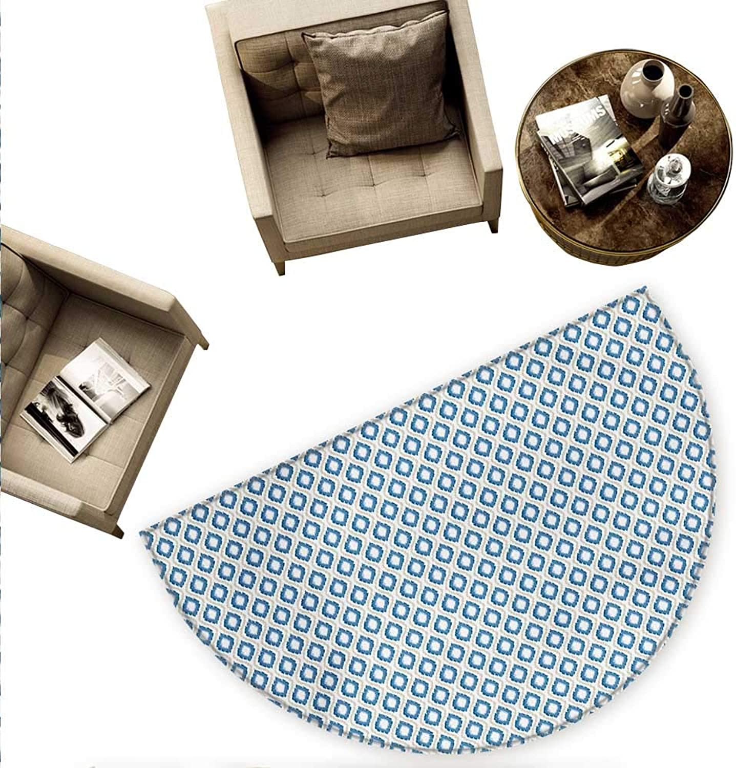Ikat Semicircular Cushion Nautical Inspired Abstract Geometrical Shapes Rhombus Lines Squares Pattern Entry Door Mat H 63  xD 94.5  bluee Beige White