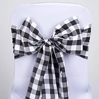 BalsaCircle 10 Black on White Gingham Checkered Polyester Chair Sashes Bows Ties - Wedding Party Ceremony Reception Decorations