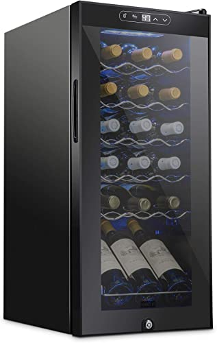 popular Schmecke 18 Bottle Compressor Wine Cooler Refrigerator w/Lock | Large Freestanding Wine Cellar | 41f-64f Digital Temperature Control Wine Fridge For new arrival Red, White, Champagne or Sparkling Wine - new arrival Black outlet sale