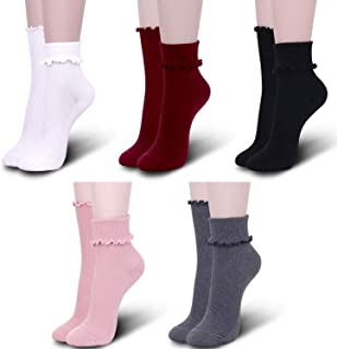 5 Pack Ruffle Socks for Women Frilly Casual Lace Ankle Crew Solid Colors Ladies Girls