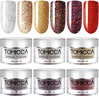 TOMICCA Dipping Powder Bright Rose Gold Color Set of 6 Nail Acrylic Powder 0.5oz Glitter Colorful Powder for dip System