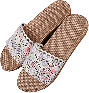 Linen Slippers - Home Non-slip Slippers Summer Indoor Wear-resistant Platform Sandals Cotton and Linen Sweat-absorbent Breathable Shoes