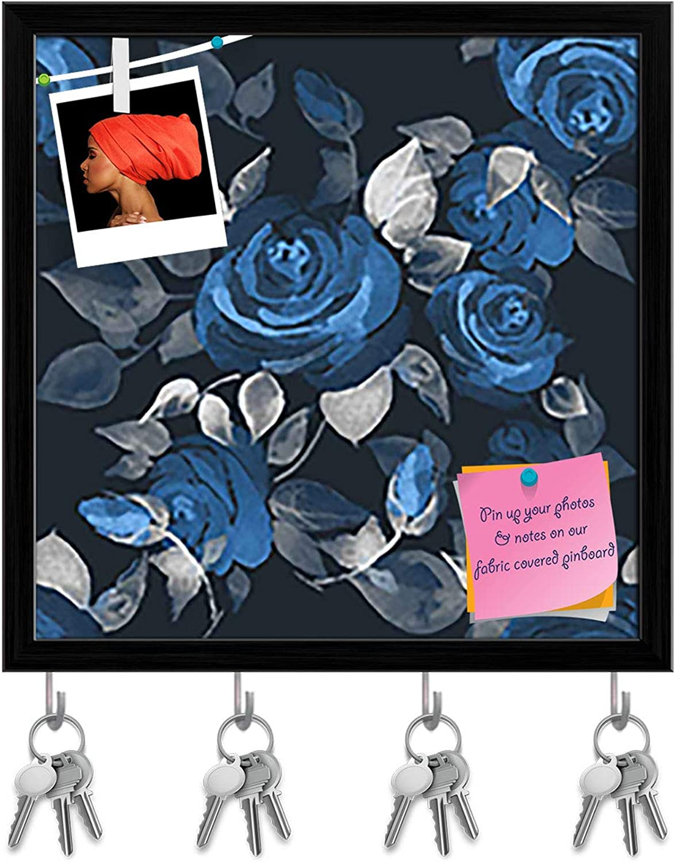 Artzfolio Beautiful pinks Key Holder Hooks   Notice Pin Board   Black Frame 6 X 6Inch