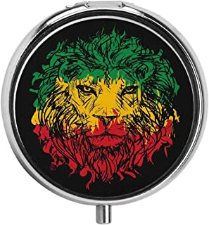 Huayuanhurug Ethiopian Flag Colors on Grunge Sketchy Lion Head with Black Backdrop Custom Pill Case Everyday Gift 3 Compartment Pill Box