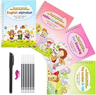 AM ANNA Magic Practice Copybook for Kids, 4 Pcs English Study Workbooks, Reusable Children's Calligraphy Letter Tracing Pa...