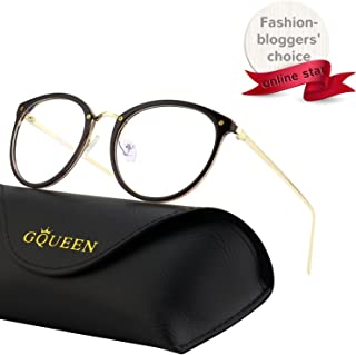 GQUEEN Fashion Blue Light Blocking Computer Glasses,Anti Glare Eye Fatigue with TR90 Frame and Metal Arm,Transparent Lens,GQ510