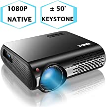 1080P Projector,XINDA 5000 Lux Projector,±50°4D Keystone Correction with X&Y Zoom,4K Home Theater Projector,Home &Business Projector for TV Stick,Smartphone,PC,Box,PS4,HDMI,VGA,USB
