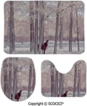 SCOCICI Custom Three-piece Toilet Seat Pad Lonely Horse in Forest Stands behind Leafless Trees Winter Snowy Panoram Bathroom Decorative 3 Piece Mat Set Pads Includes Bath Mat,Contour Mat and Lid Cover