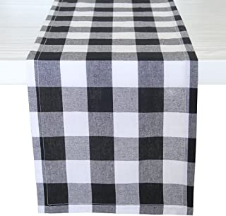 ARKSU Christmas Table Runner Plaid Polyester-Cotton Blend for Dinner Table Indoor or Outdoor Parties Home Decor, Black and White, 12