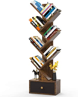 Tree Bookshelf with Drawers, Floor Standing Book Shelves, Unique Bookcase Storage Organizer Shelves for Books, Modern Wood Me