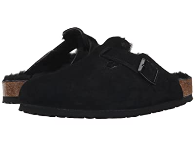 Birkenstock Boston Shearling (Black/Black Suede) Clog Shoes