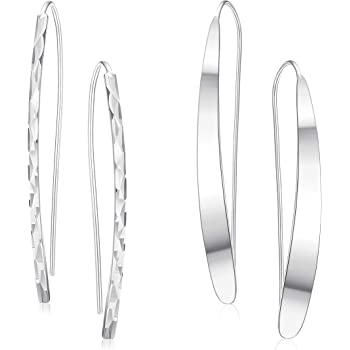 925 Sterling Silver Polished Curved Dangle Earrings