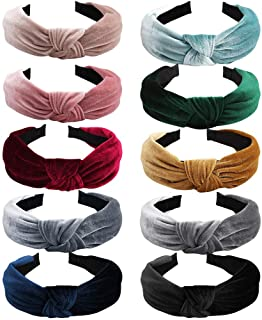 10 Pack Velvet Headbands for Women, Fashion Velvet Knotted Headbands, Lightweight Adjustable Breathable Wide Headbands Hai...