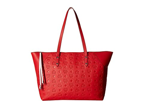 MCM Klara Monogrammed Leather Charm Top Zip Shopper Medium