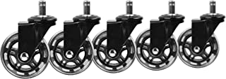 Slipstick CB690 Floor Protecting Rubber Office Chair Caster Wheels (Set of 5), Black