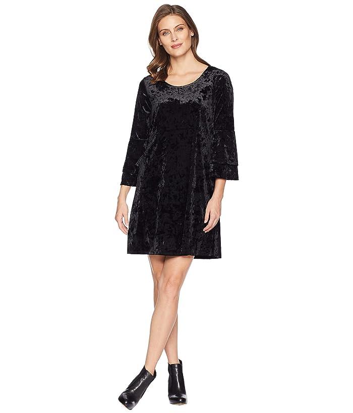 Tribal Long Sleeve Frill Detail Dress (Black) Women