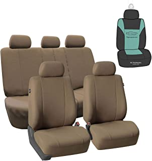 FH Group FB052115 Full Set Multifunctional Flat Cloth Car Seat Covers, Airbag Ready and Split, Taupe Color - with Gift - U...
