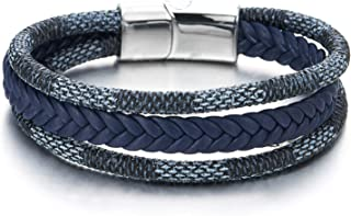 Men Women Three-Strand Navy Blue Braided Leather Cotton Rope Bracelet Wristband Steel Magnetic Clasp