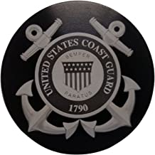 "product image for HMC Billet United States Coast Guard Aluminum 4"" Laser Engraved Trailer Hitch Cover"