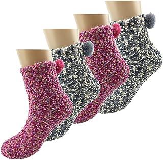 IFSUN【4足セット】レディース 冬 防寒靴下 ふわふわソックス もこもこ 女性 厚手 ポンポン付き かわいい ルーム用 カップケーキ 多い色 ショート 寒さ対策 自宅睡眠 柔らかい 暖かい