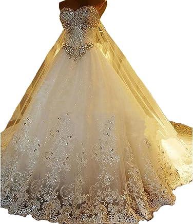 12a78c46ca7 Yuxin Luxury Sweetheart Crystal Beaded Wedding Dress Princess Long Train  Lace Ball Gown Bridal Dresses