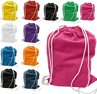 (12 Pack) 1 Dozen - Durable Cotton Drawstring Tote Bags (Mix)
