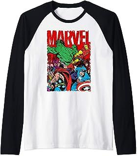 Marvel Avengers Team Retro Comic Vintage Manche Raglan