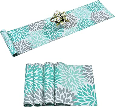 Alishomtll Dahlia Pinnata Table Runner with 4 Placemats Green Gray Print Flower Table Runners Set Top Decor for Dinner Partie