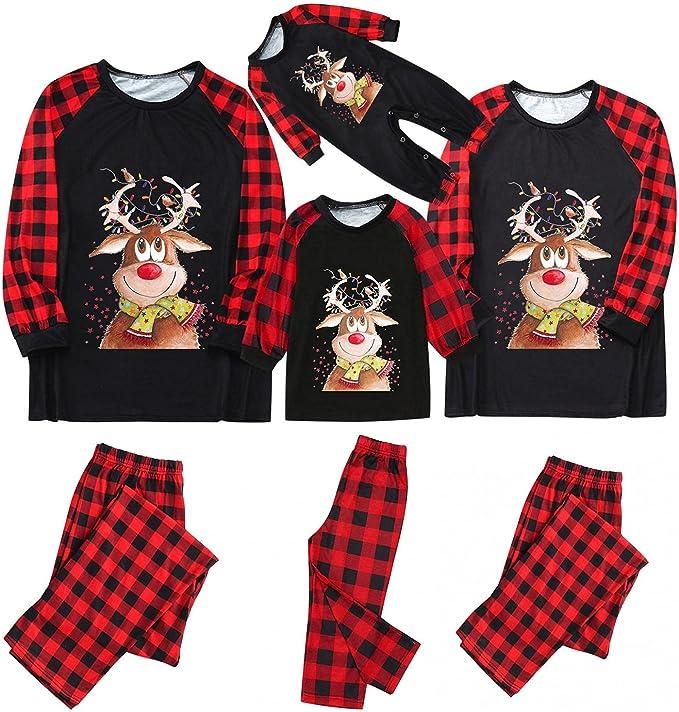 Family Christmas Pjs Matching Sets, Christmas Pajamas for Family Plaid Tops Pants Matching Christmas Pjs for Family