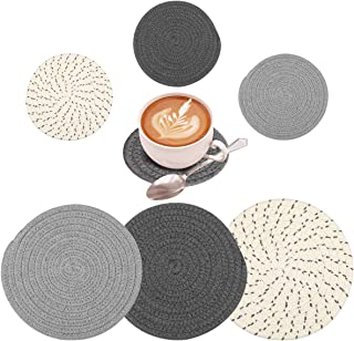 6 Pieces Pot Holders Set 2 Sizes, 7 Inches Trivets Set for Kitchens Hot Mats and 4.33 Inches Stylish Coasters, 100% Pure C...