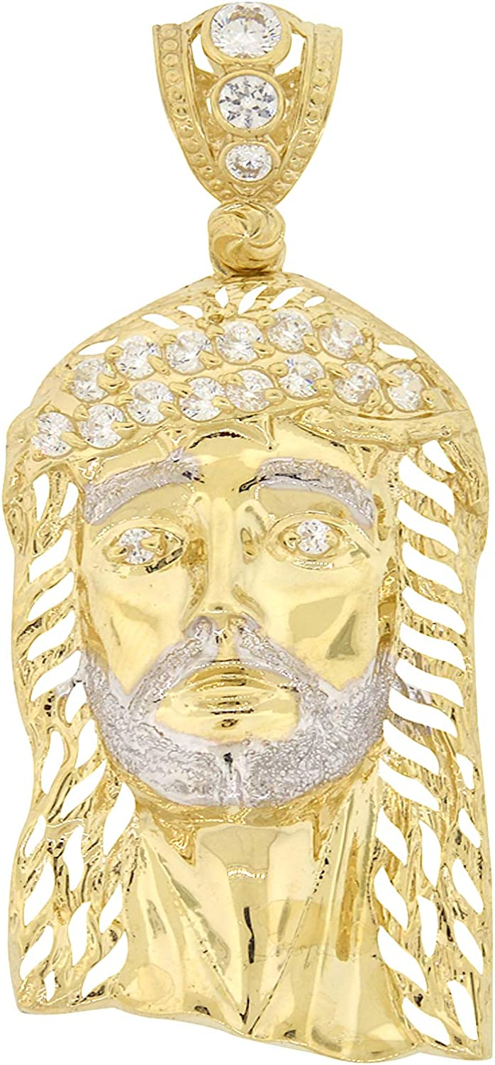 Men's 10k Two Tone Gold Round Cut Cubic Zirconia Large Jesus Piece with Cut Outs Pendant, 2.40