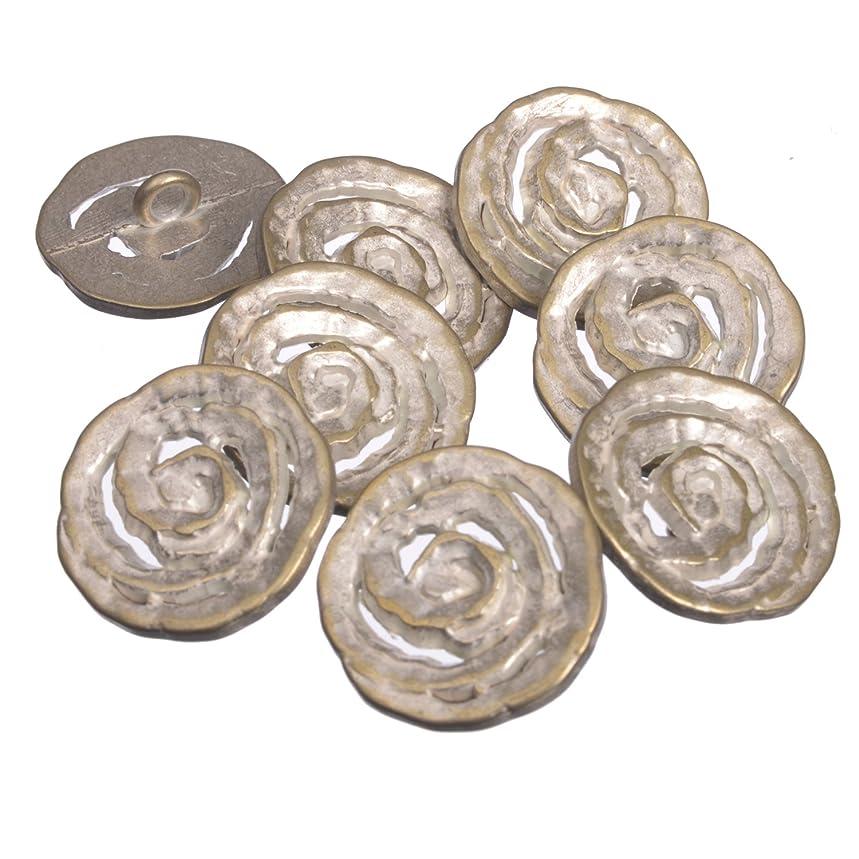 Zinc Diecasted Metal Shank Button - Spiral Coil Pattern - 36 Line - Silver Brass