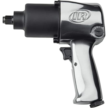 """Ingersoll Rand 231C 1/2"""" Drive Air Impact Wrench – Lightweight, Max 600 ft-lbs Torque Output, Adjustable Power, Twin Hammer, Silver, 3.4 x 8.2 x 8.8 inches"""