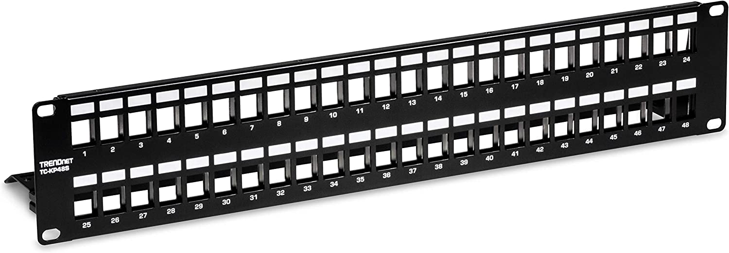 """TRENDnet 48-Port Blank Keystone Shielded 2U HD Patch Panel, TC-KP48S, 2U 19"""" Metal Rackmount Housing, Network Management Panel, Recommended with TC-K06C6A Cat6A Keystone Jacks (Sold Separately)"""