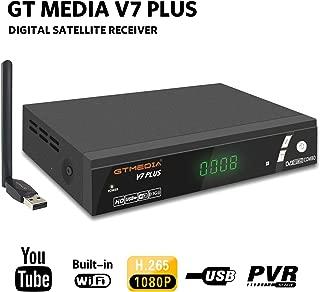 GTMEDIA V7 Plus DVB-S2/T2 FTA Satellite TV Receiver Digital Sat Decoder 1080P Full HD with USB WiFi Antenna H.265 AVS+ Support YouTube, PVR Ready, Cccam, Newcam, Powervu, DRE & Biss Key by Aoxun