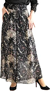 [サワ アラモード] 天使 ボタニカル 柄 ハイウエスト ワイドパンツ レディース ファッション パンツ 花柄 ロング