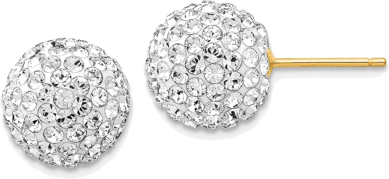 10mm Disco Ball Crystal Stud Earrings in 14K Yellow Gold