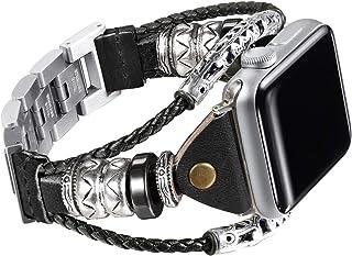 Secbolt Leather Bands Compatible Apple Watch Band Series 4 44mm, Series 3/2/1 42mm, Double Twist Handmade Vintage Natural Leather Bracelet Replacement Bracelet Straps Women