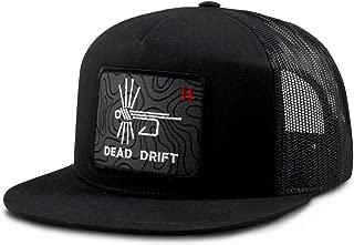 Dead Drift Fly Fishing Hat Topo Map Black Flat Bill Snap Back by Fly